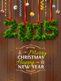 New Year 2015 of twigs like christmas decoration. Christmas congratulation against wood background. Qualitative vector (EPS-10) illustration for new year's day stock illustration