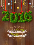New Year 2016 of twigs like christmas decoration Stock Photography