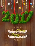 New Year 2017 of twigs like christmas decoration. Christmas congratulation against wood background. Vector illustration for new years day, christmas, winter Stock Photos
