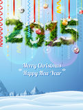 New Year 2015 of twigs like christmas decoration. Winter landscape with christmas congratulation. Qualitative vector (EPS-10) illustration for new year's day Stock Photo