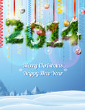New Year 2014 of twigs like christmas decoration. Winter landscape with new year congratulation. Qualitative vector (EPS-10) illustration for new years day Stock Photos