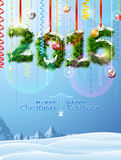 New Year 2016 of twigs like christmas decoration. Winter landscape with christmas congratulation. Qualitative vector illustration for new year's day, christmas Stock Photos