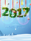 New Year 2017 of twigs like christmas decoration. Winter landscape with christmas congratulation. Vector illustration for new years day, christmas, winter Royalty Free Stock Images