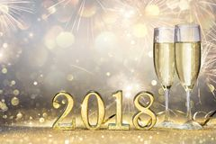 New Year 2018 - Two Flutes With Champagne. And Golden Numbers Royalty Free Stock Photography