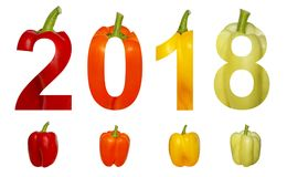 2018 New Year. Two thousand eighteen. Holidays. Numbers are made of colorful sweet pepper paprika isolated on a white. Background Royalty Free Stock Images
