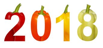 2018 New Year. Two thousand eighteen. Holidays. Numbers are made of colorful sweet pepper paprika isolated on a white. Background stock photo