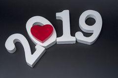New year two thousand nineteen, white numbers on a black background. The concept of new year 2019 royalty free stock photography