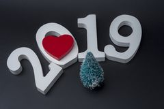 New year two thousand nineteen, white numbers on a black background. The concept of new year 2019 royalty free stock photos