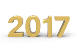 New Year 2017 type, 3d rendering. New Year 2017 type is modelled and rendered Stock Illustration