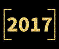 2017 New Year type in Golden glitter style on black. Template for banner, card, poster, flyer, web, header. Vector gold glittering illustration EPS10 Stock Images