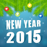 New Year2015 under the tree. New Year 2015 under the tree, blue background,Christmas decorations stock illustration