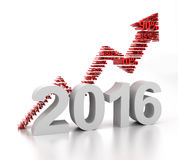New year upward arrow, 3d render. 2016 upward arrow formed by numbers, 3d render Royalty Free Stock Photo