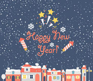 New Year with urban background. Stock Photos