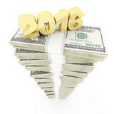 New year 2016 and USD dollar stack Royalty Free Stock Image