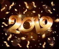 New Year vector abstract 3d background with golden 3D numbers 2019,lens flares,confetti,glowing stars,light flashes. New Year abstract 3d vector background with vector illustration
