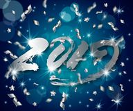 New Year vector abstract 3d background with silver 3D numbers 2019,lens flares,confetti,glowing stars,light flashes. New Year vector abstract 3d background with stock illustration