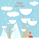 New year vector background with fox and winter forest Stock Image