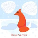 New year vector background with ginger fox Royalty Free Stock Image