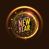 2017 new year vector background glowing circle frame. Light abstract wallpaper.. Happy New Year celebration invitation card Royalty Free Stock Images