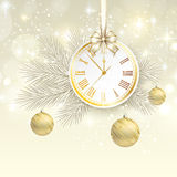 New year vector background with gold clock Stock Images