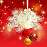 New year vector background with gold clock Stock Image