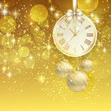 New year vector background with golden clock Stock Images