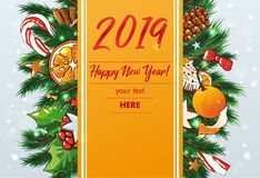 New Year vector Background with sweets and fir stock photography