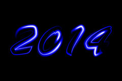 2014 new year. Vector 2014 blue neon glowing Vector Illustration