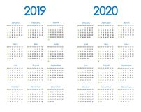 New year 2019 and 2020 vector calendar modern simple design with round san serif font,Holiday event planner,Week Starts Sunday. New year 2019 and 2020 vector Stock Photo