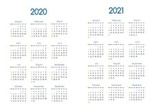 New year 2020 and 2021 vector calendar modern simple design with round san serif font,Holiday event planner,Week Starts Sunday royalty free stock photography