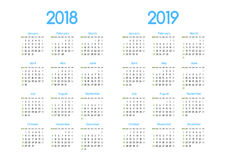 New year 2018 and 2019 vector calendar modern simple design. With round san serif font, Holiday event planner, Week Starts Sunday vector illustration
