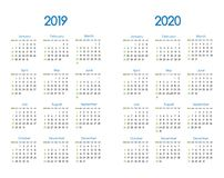 New year 2019 and 2020 vector calendar modern simple design with. Round san serif font,Holiday event planner,Week Starts Sunday Royalty Free Stock Images