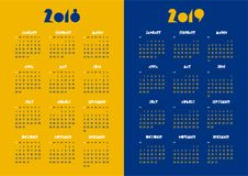 New year 2018 and 2019 vector calendar modern simple vivid color Stock Photo