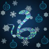 New Year. Vector New Year card with amusing stylized snake - symbol of year 2013 Royalty Free Stock Photos
