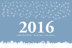 New Year 2016 vector card in blue. Happy new year vector card with the white numbers 2016 and bevelled inscription  Happy New Year on the trendy light blue Royalty Free Stock Photography