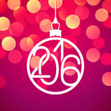 New Year 2016 vector card, bokeh background. New Year 2016 vector greeting card, bokeh background Royalty Free Stock Photo