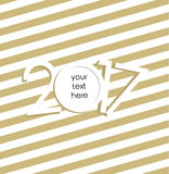 New Year 2017 vector card. Christmas ball. Golden background for text. Vector Illustation Royalty Free Stock Image
