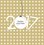 New Year 2017 vector card. Christmas ball. Golden background for text. Vector Illustation Stock Images