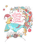New Year vector card with the cute rooster  the decorations. New Year vector card with the cute rooster with the decorations and houses on the tail and nice felt Stock Photos