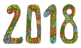 New year vector cute doodles hand drawn sign cartoon style with numbers 2018 on winter holiday background. Christmas mandala. Antistress coloring book for Royalty Free Stock Photo