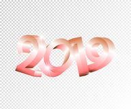 New Year vector 3d numbers 2019 on transparent background.Realistic volumetric numetrics,holiday greeting card concept. New Year pink vector 3d numbers 2019 on vector illustration