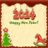 New year vector gingerbread style greeting card. With fir tree and horse Stock Images