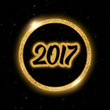New Year 2017 vector greeting card. New Year 2017 greeting card. Glowing numbers in round golden frame on black background with yellow glitters. Vector Stock Photos