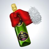 New year vector icon. Santa's hand holding a. Bottle vector illustration