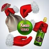 New year vector icon set. Santa's hand holding a. New year vector icon set Royalty Free Stock Photography