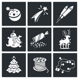 New Year Vector Icons Set Royalty Free Stock Photos