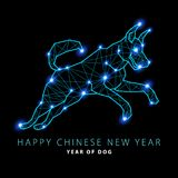 2018 New Year Vector illustration of Canis Major. Dog constellation hand-drawn background. Astrology picture on blurry space backg. Round. art Royalty Free Stock Image