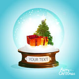 New year vector illustration. Christmas glass ball with tree and gifts Royalty Free Stock Photo
