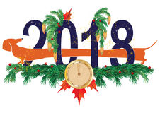 New Year 2018. Vector illustration with dog and clock royalty free illustration