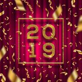 New year 2019 illustration. Glitter gold numbers of a year with frame and golden foil confetti on a red curtain background. New year 2019 vector illustration royalty free illustration